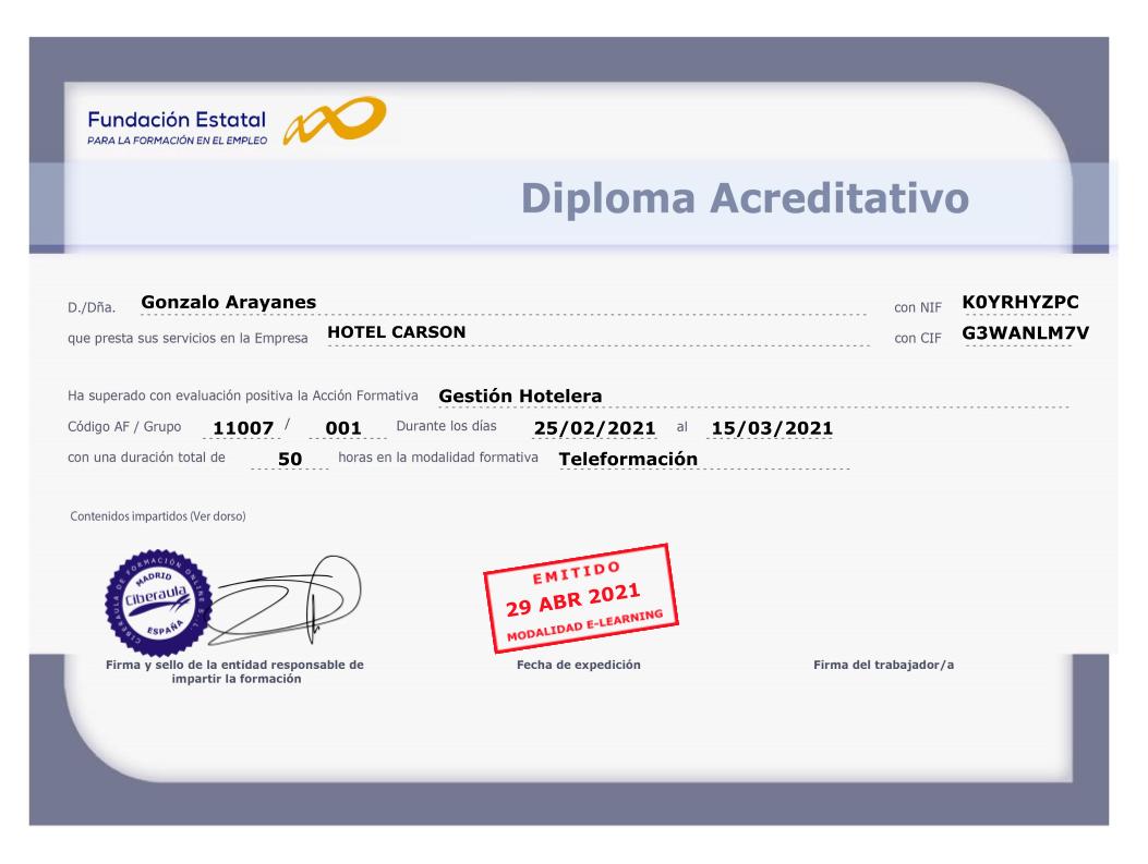 Diploma Acreditativo FUNDAE
