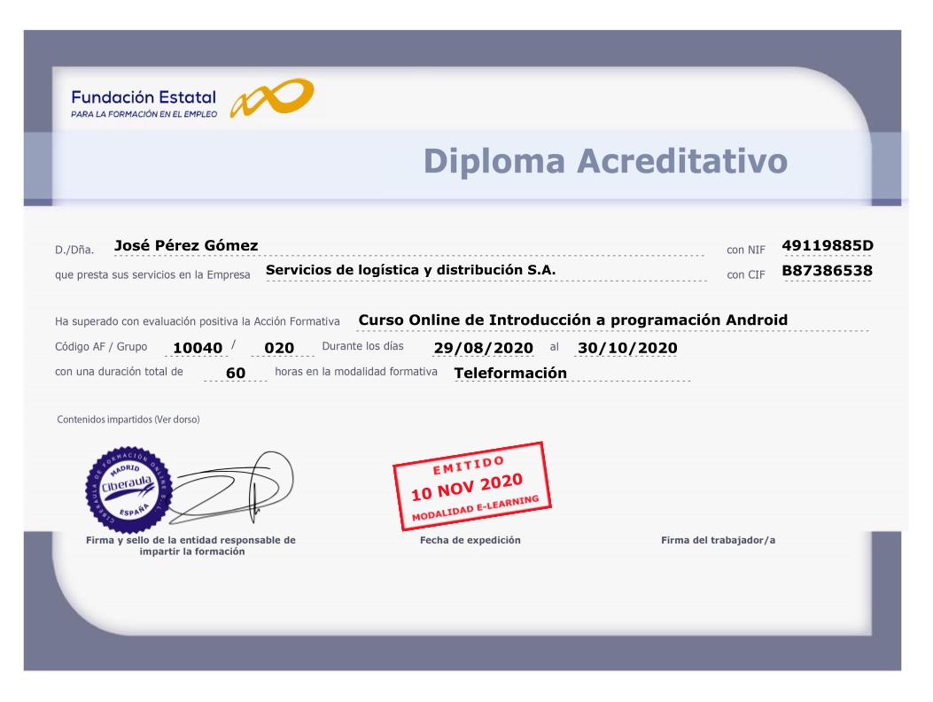 Diploma Acreditativo de programación Android
