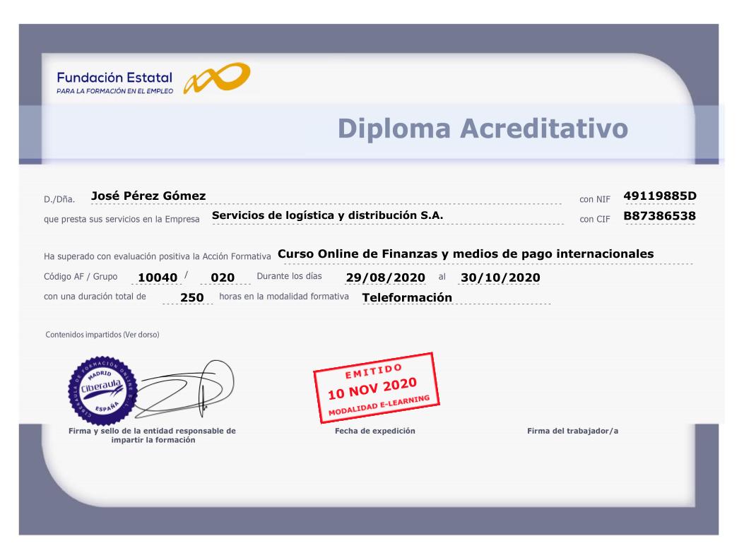 Diploma Acreditativo Finanzas y medios de pago internacionales