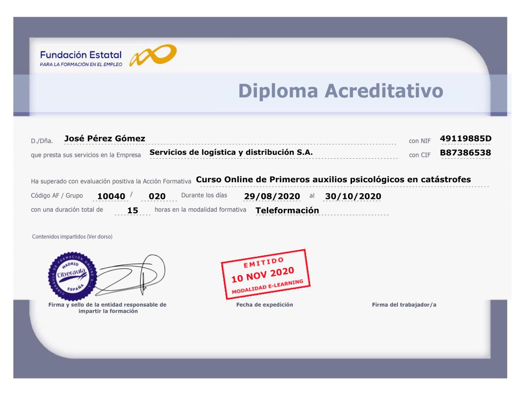 Diploma Acreditativo Primeros auxilios psicológicos en catastrofes