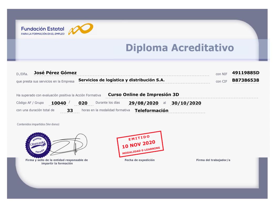 Diploma acreditativo impresión 3D